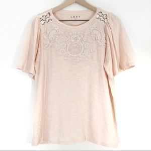LOFT | Blush Pink Embroidered Tee